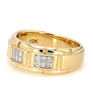 Men's 10K Yellow Gold & Diamond Wedding Band - Sz. 9¾