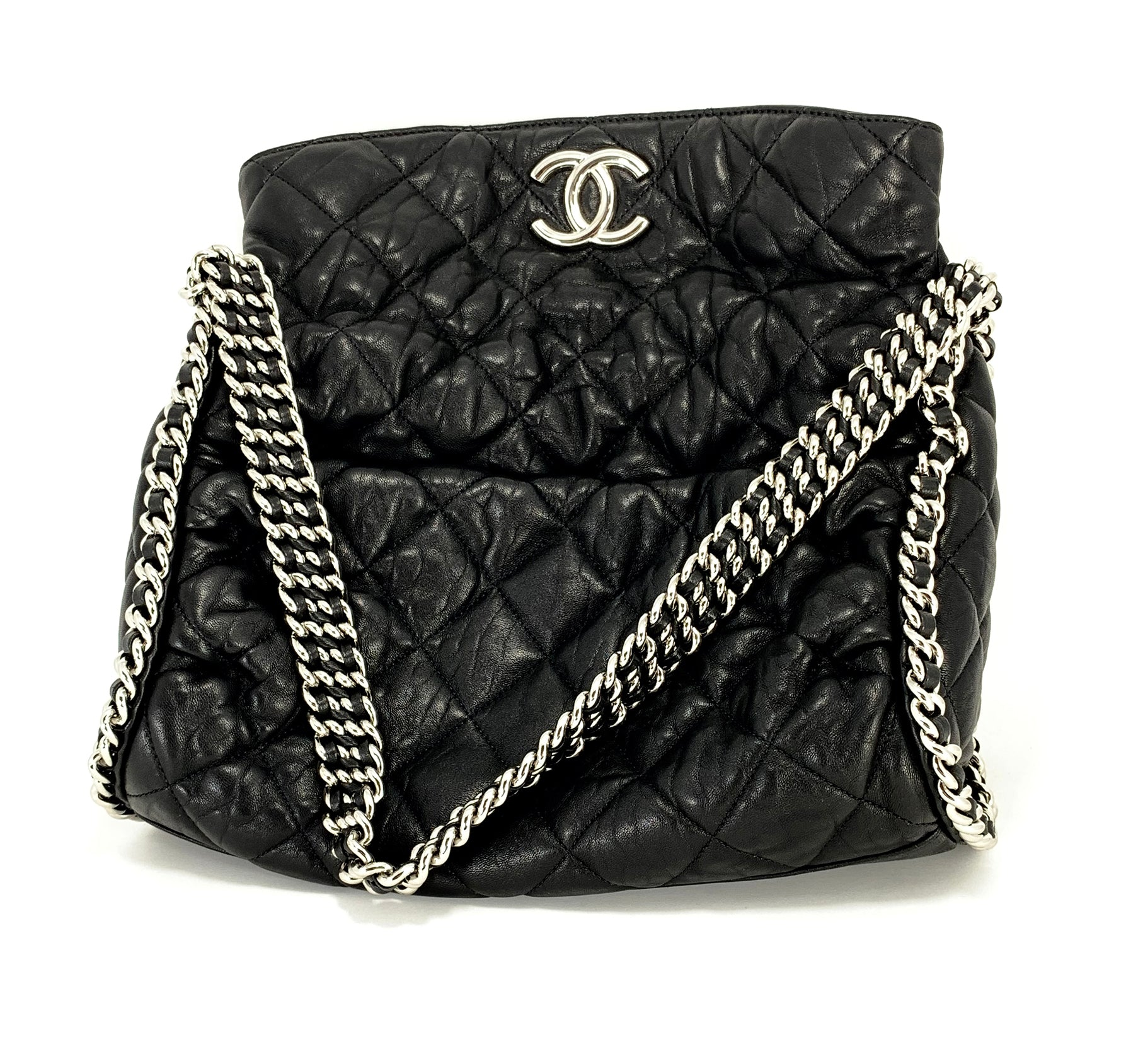 571e0ffb361062 ... Load image into Gallery viewer, CHANEL Black Hobo Quilted Ultimate Soft  Chain Around Tote Bag