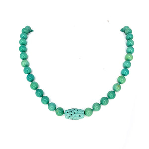 Vintage Chinese Natural Turquoise Bead Necklace