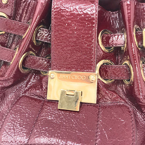 Jimmy Choo Crinkled Small Burgundy Patent Leather Tote