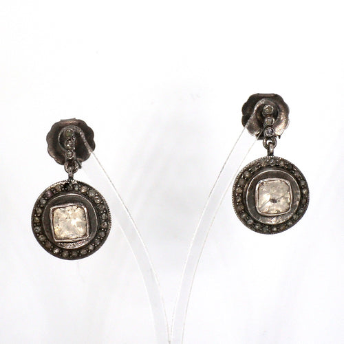 Antique 2.00ctw Diamond Dangle Earrings in Sterling Silver & 14K White Gold