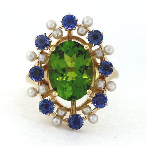 Vintage 14K Yellow Gold Peridot & Sapphire Floral Fashion Cluster Ring - Sz. 6.5