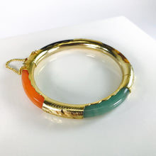 Load image into Gallery viewer, Asian Gold Plated Sterling Silver Jade & Tiger's Eye Bracelet