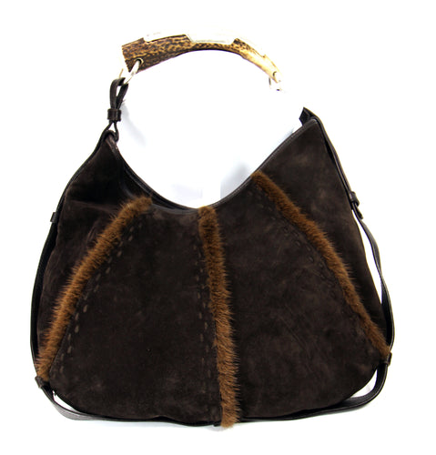 YSL 'Mombasa' Hobo Bag w/ Horn Handle & Mink Accents
