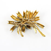 Load image into Gallery viewer, 18K Yellow Gold Brooch with Green and Blue Enamel, and 0.25ctw appx Diamonds
