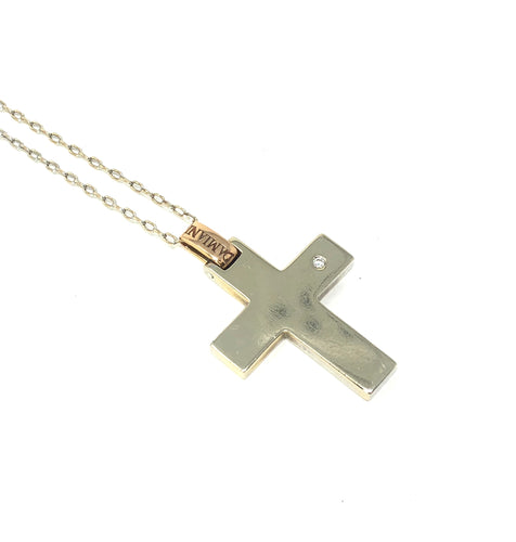 Damiani 0.02ct Diamond 18K 2-Tone Gold Cross Necklace