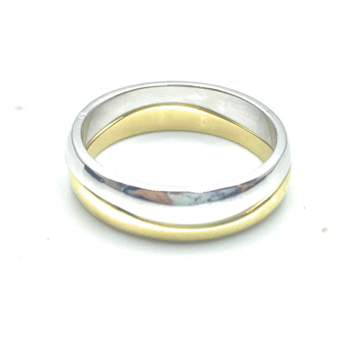 Cartier 2 Tone 18K Gold Double Stack Wave Ring, Sz. 6