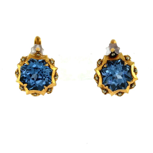 18K Yellow Gold & Blue Topaz Victorian Style Lever Back Earrings
