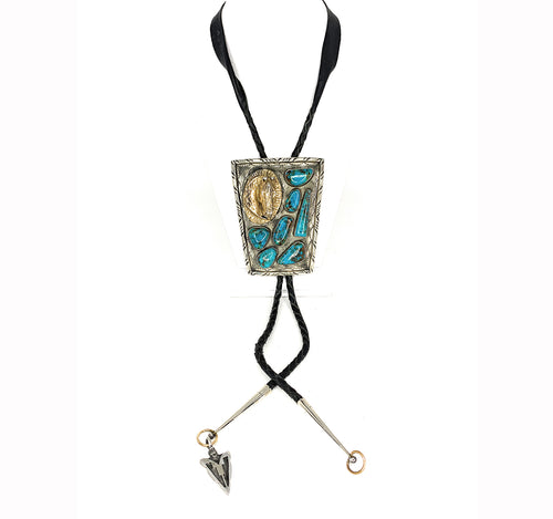 Vintage Navajo 3-Dimensional Royston Turquoise & Horsehead HUGE Bolo Tie