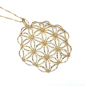 Estate 14K Yellow / White Gold Ornate Snowflake Pendant Necklace