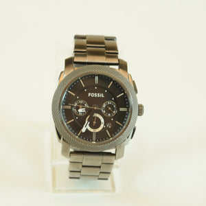 Fossil Mens Machine Chronograph Smoke Stainless Steel Watch FS4662