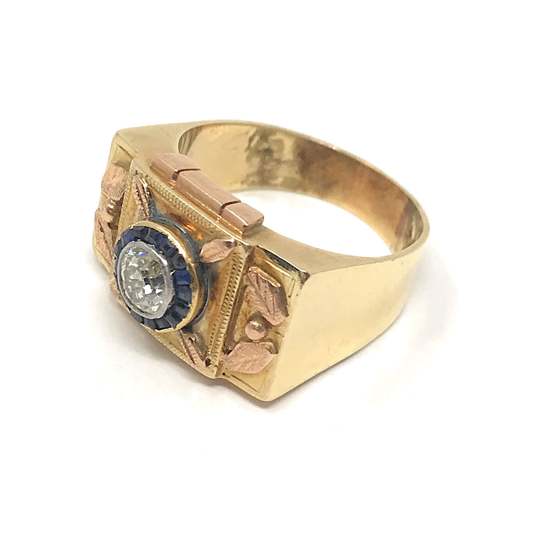Hand Crafted Vintage Old Mine Cut Diamond & Sapphire Ring , 14K Yellow Gold Size 10.75