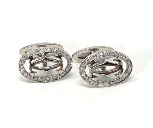 Cartier Double C Logo Cufflinks 0.64ctw Diamonds 18K White Gold