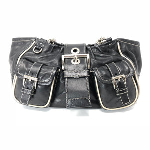 Prada Black Leather Buckle Double Pocket Shoulder Bag Purse