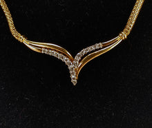 Load image into Gallery viewer, 14K Yellow Gold Fox Tail Chain & Wheat Shape Diamond Necklace