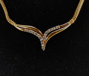 14K Yellow Gold Fox Tail Chain & Wheat Shape Diamond Necklace