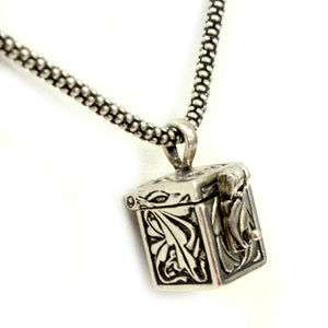 Sterling Silver Leaves Prayer Box Necklace