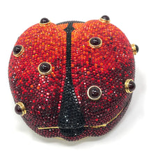 Load image into Gallery viewer, Judith Leiber Ladybug Swarovski Minaudiere Evening Red Crystal Clutch
