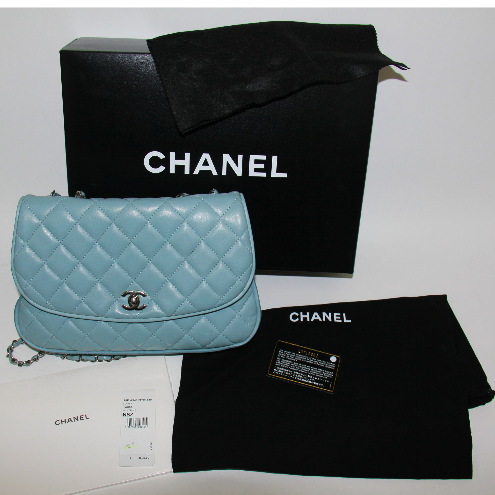 ac832f76fce5 ... Load image into Gallery viewer, Chanel Light Blue Quilted Messenger  Flap Bag 2015 ...
