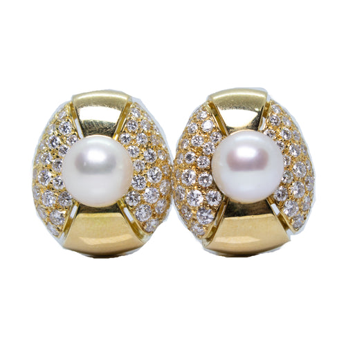 Cartier 18K Yellow Gold Akoya Pearl & Pavé Diamond Earrings