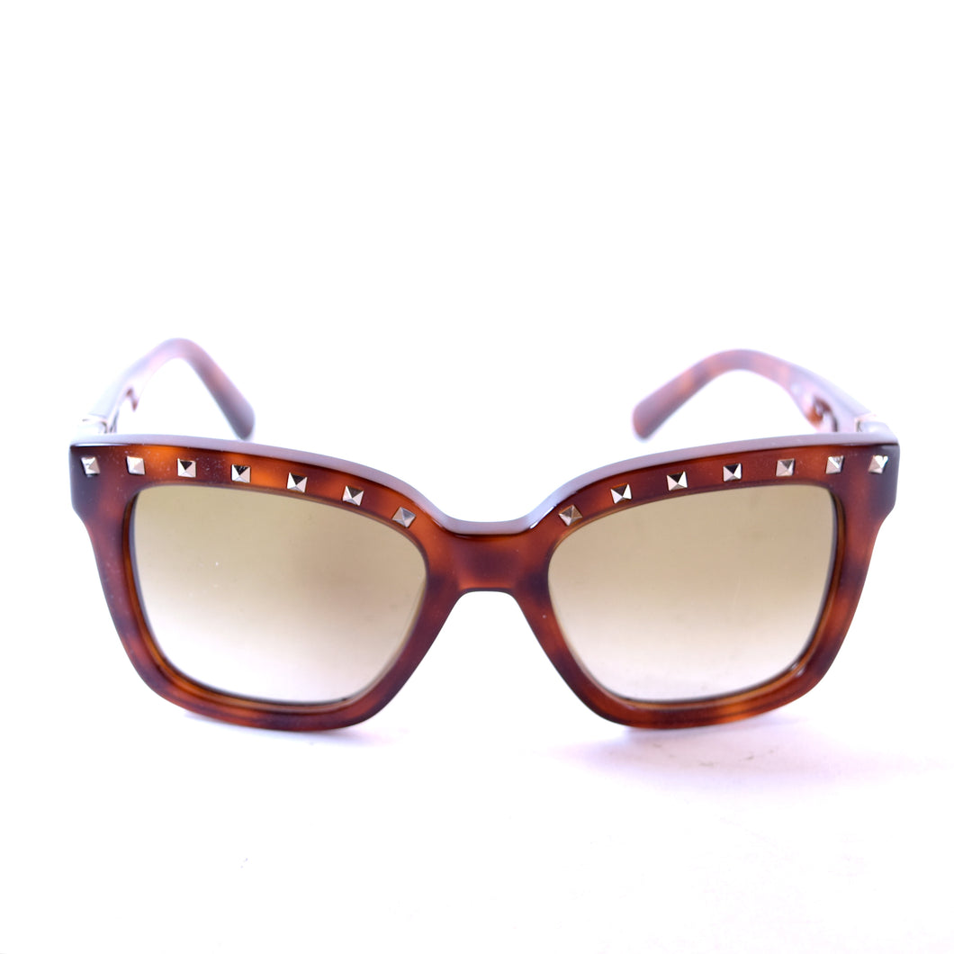 Valentino V660 Blonde Havana Square Sunglasses