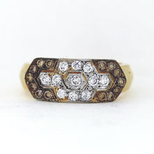 Load image into Gallery viewer, 18K Yellow Gold Ring w/ Chocolate & White Diamonds - 0.85ctw - Sz. 7.75