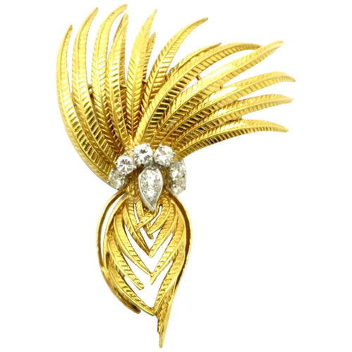 Cartier Designer Round 1 Carat Diamond Feather 18K Two-Tone Brooch Pin