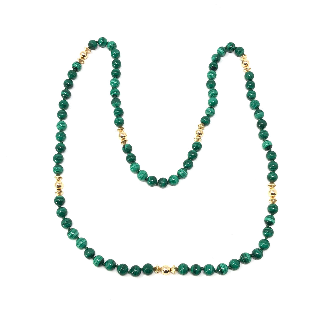 Estate Malachite 14K Yellow Gold Necklace 31