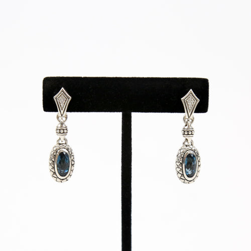 Scott Kay Sterling Silver Earrings with Blue Topaz and Diamonds