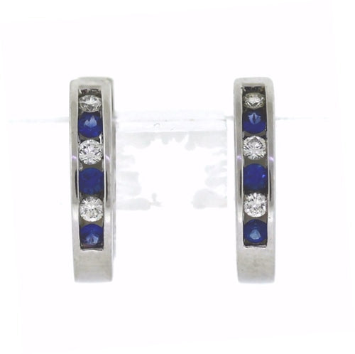 14K White Gold Channel-Set Diamond & Sapphire Hinged Hoop Earrings