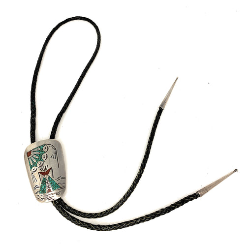 Vintage Zuni Sterling Silver Multi Stone Micro-Inlay TeePee Motif Bolo Tie - Signed
