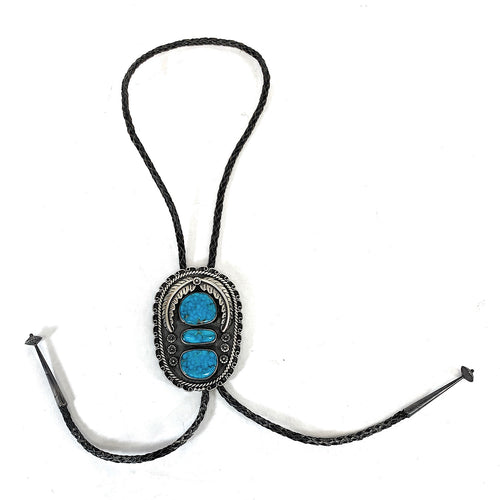 Vintage 1970's Large Navajo Sterling Silver & Bisbee Turquoise Bolo Tie