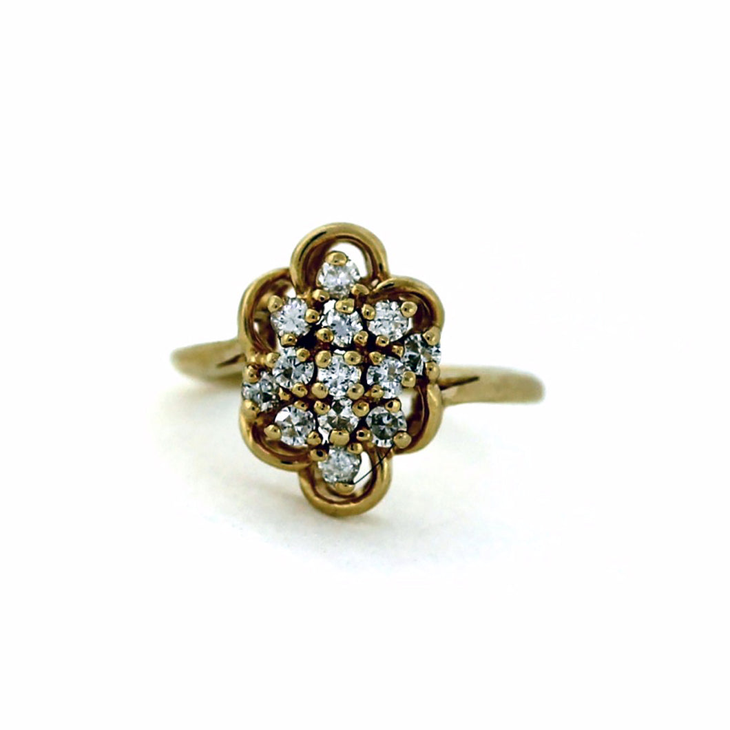 14K Yellow Gold Diamond Cocktail Cluster Ring - Sz. 5.5