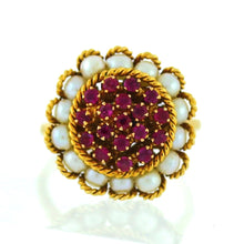 Load image into Gallery viewer, 18K Yellow Gold Ruby & Pearl Halo Ring - Sz. 7¼