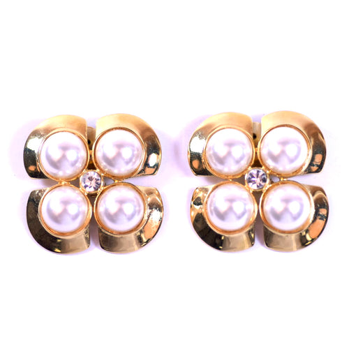 Costume Gold Tone Clip On Earrings with 4 Mabe Pearl Accents