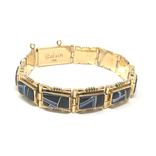 Jet Inlay & Opal 14K Yellow Gold Bracelet Signed Calvin, Length 7 Inch