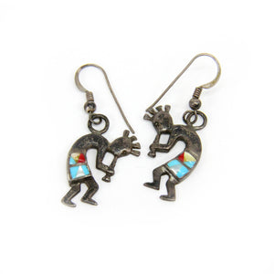 5 Sets of Native American Sterling Silver Earrings Kokopelli Turquoise