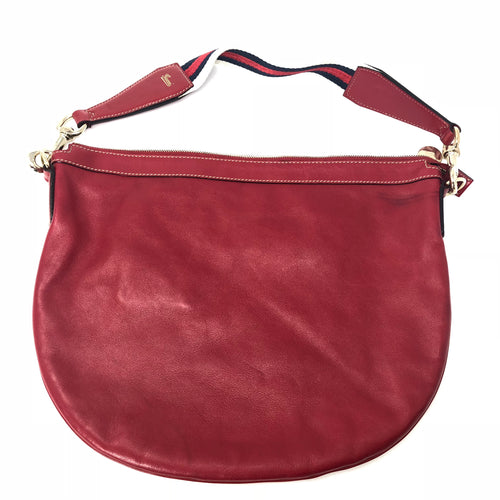 Gucci Red Leather Web Hobo Shoulder Bag
