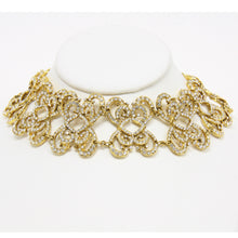 Load image into Gallery viewer, Mona Saab Vintage Collar Style Gold-Tone Crystal Necklace and Gold-Tone Earrings
