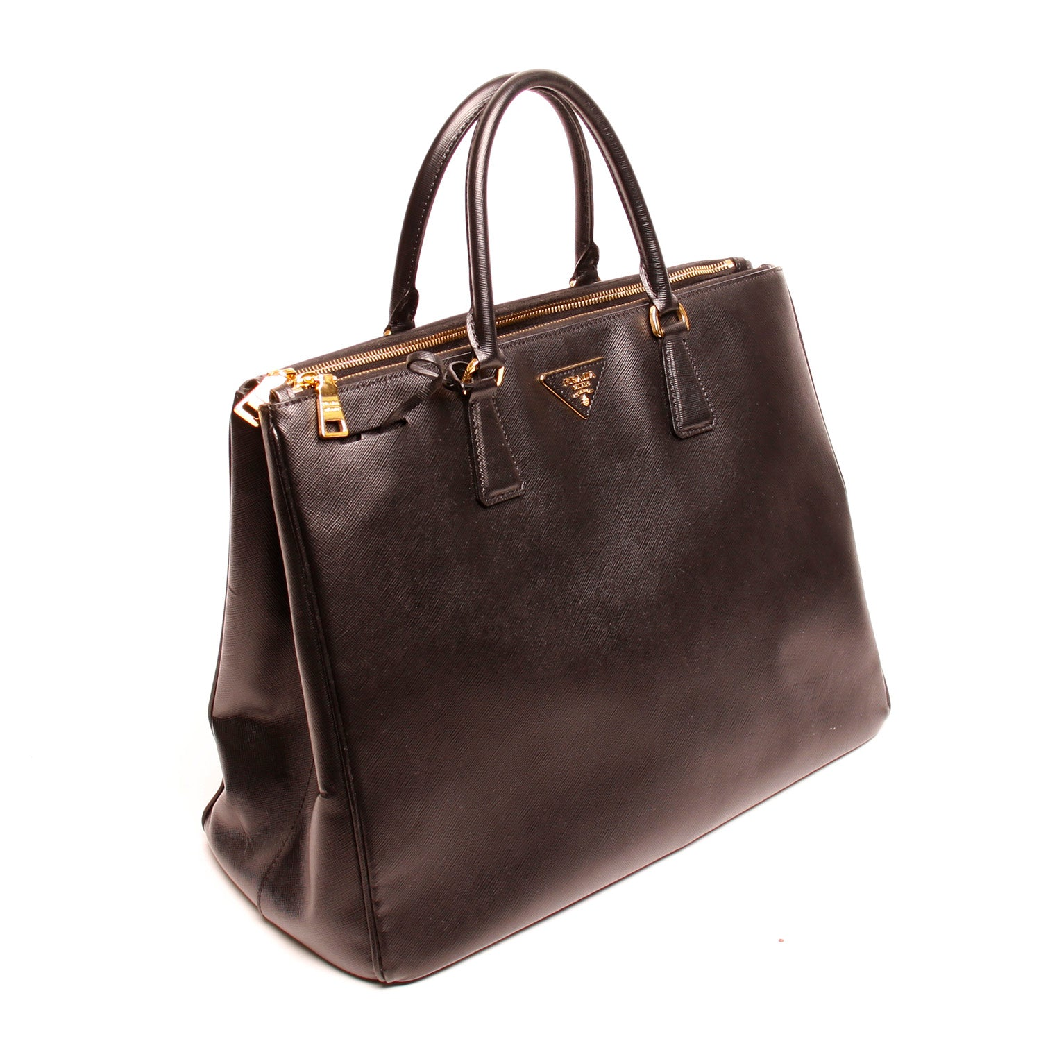 b5dc4a0d8fbc ... Load image into Gallery viewer, Prada Nero Saffiano Lux Double-Zip Tote  Handbag ...