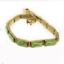 Load image into Gallery viewer, GORGEOUS Navajo 14K Gold Gaspeite Link Bracelet
