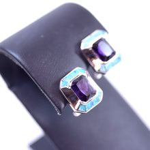 Load image into Gallery viewer, Sterling Silver Amethyst and Opal Square Earrings