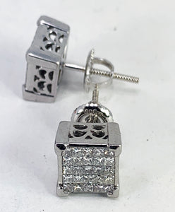 BEAUTIFUL 3.00ctw Princess Cut Diamond & 14K White Gold Earrings