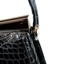 Load image into Gallery viewer, Lucille De Paris Black Alligator Evening Bag Purse