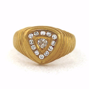 Gent's Trillion Shape Cluster Diamond Ring in 14K Gold - Sz. 8.5