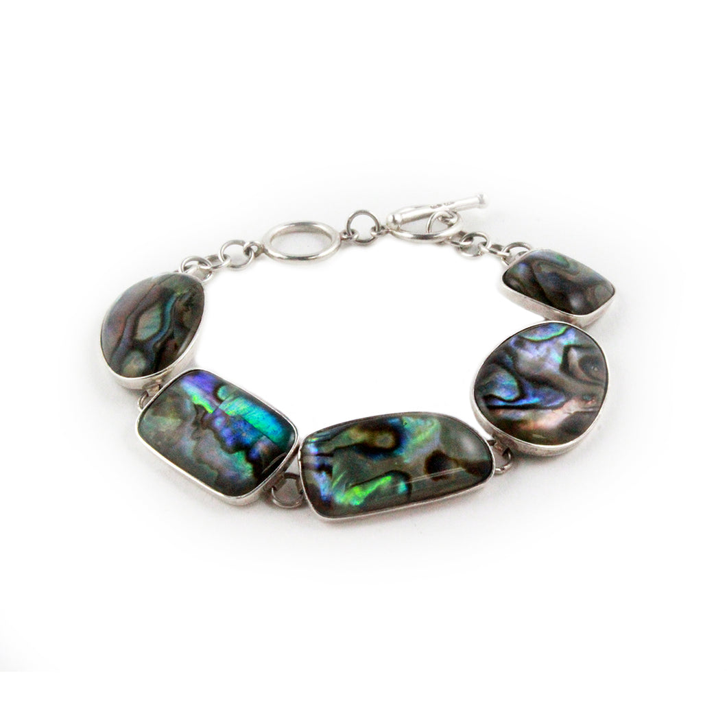 Gorgeous Rainbow Abalone & Sterling Silver Geometric Shaped Toggle Bracelet