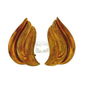 Henry Dunay 18K Yellow Gold Polished and Sabi Finish Scalloped Clip-On Earrings