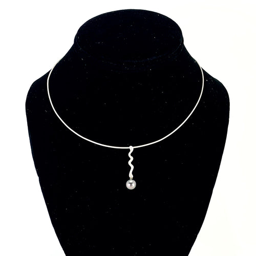 Gorgeous Black Pearl & Diamond Pendant Featured on a 14K White Gold Flexible Neck Wire