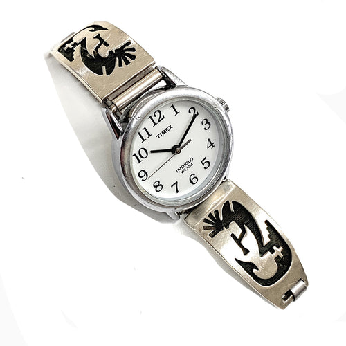 Vintage Zuni Sterling Silver Overlay Kokopelli Watch Tips & Expansion Band