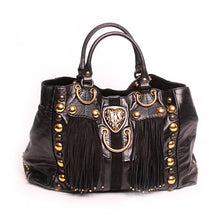 Load image into Gallery viewer, GUCCI Black Leather Babouska Suede Fringe Satchel 207301